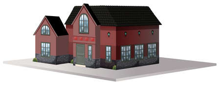 Architecture design for house with black roof illustration Illustration