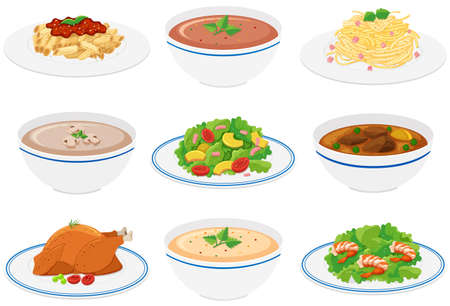 food: Different kinds of food on plates and bowls illustration Illustration