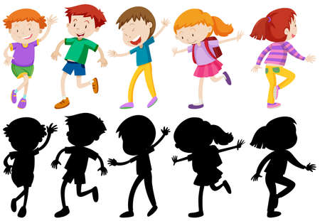 child laughing: Children characters in silhouette and colored illustration