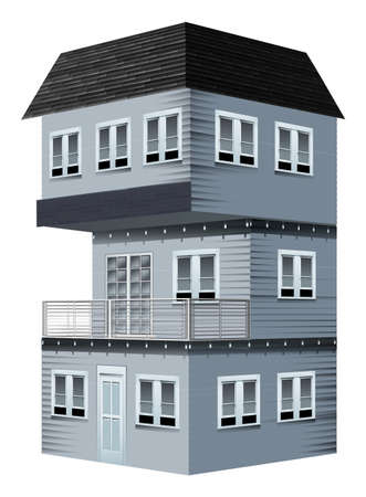 view: 3D design for house painted in gray illustration Illustration