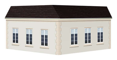 white background: White building with black roof in 3D design illustration