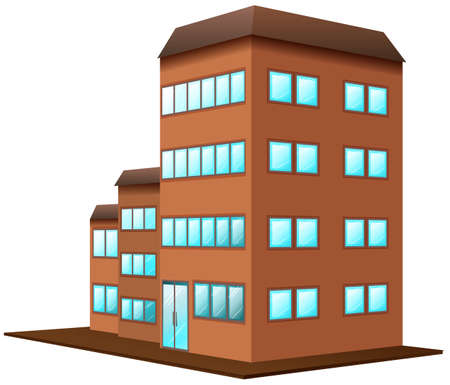 white background: Brown building on white background illustration