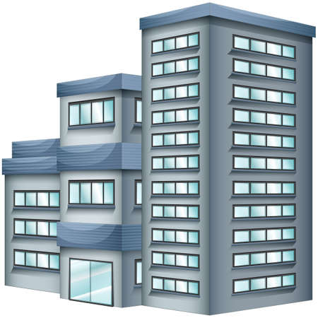 office construction: 3D design for tall building illustration