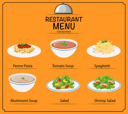 food: Different dish on menu illustration