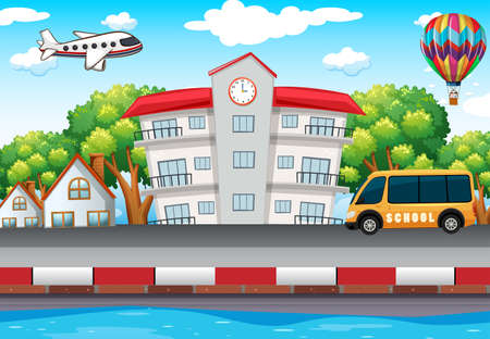 schoolbus: School building and bus on the road illustration Illustration
