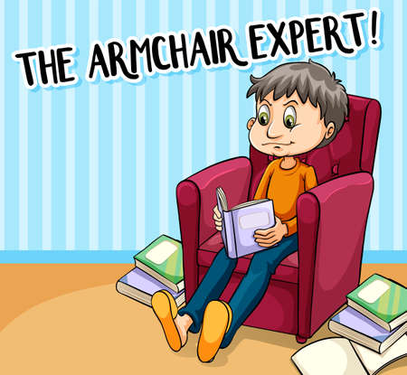 figurative: Idiom poster for armchair expert illustration