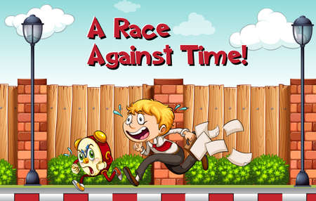 race for time: Idiom poster for race agaist time illustration