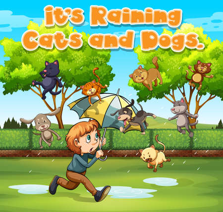 Idiom expression for its raining cats and dogs illustration Çizim