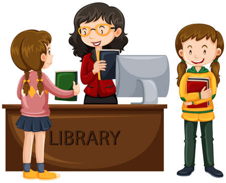 books library: Kids check out books from library illustration Illustration