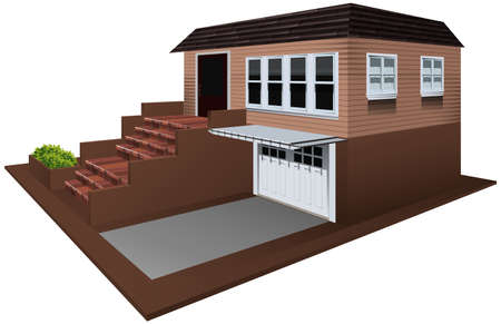 architect drawing: 3D design for house with garage illustration
