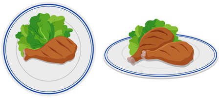 food: Chicken drumsticks on two plates illustration