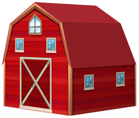Red barn in 3D design illustration Illustration