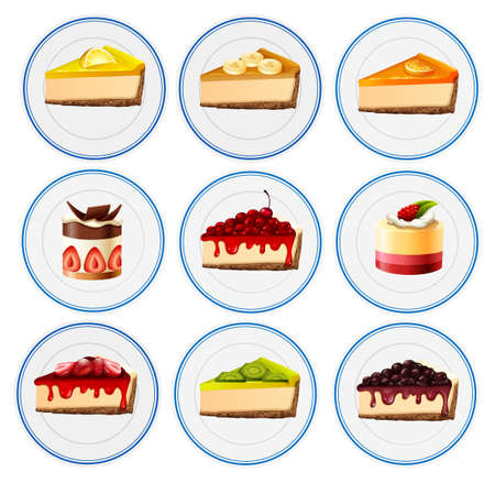 Different kinds of cheesecakes illustration