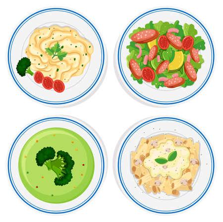food: Different kinds of food on plate illustration