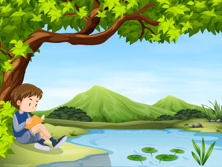 Boy reading book by the pond illustration