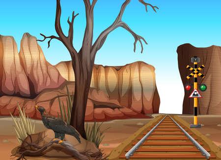 eagle canyon: Train track through the canyons illustration