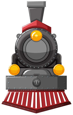 Steam engine in gray color illustration Иллюстрация