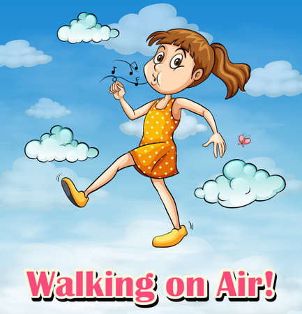 Idiom poster for walking on air illustration