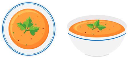 Vegetable soup in bowls illustration Illustration