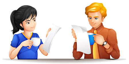 white work: Man and woman with coffee cup and papers in hands illustration