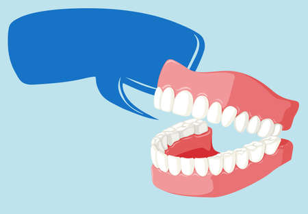 bubble gum: Speech bubble template with clean teeth illustration Illustration