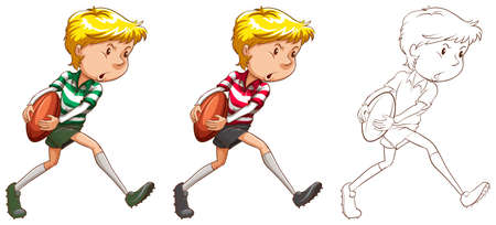 rugby player: Rugby player in three different drawing styles illustration