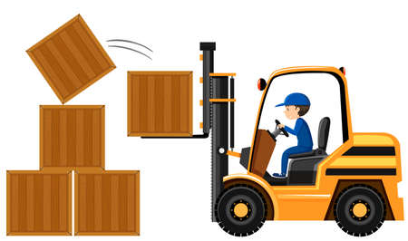 Man lifting wooden boxes with forklift illustration