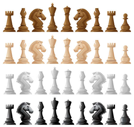 sheet of paper: Four set of chess pieces illustration