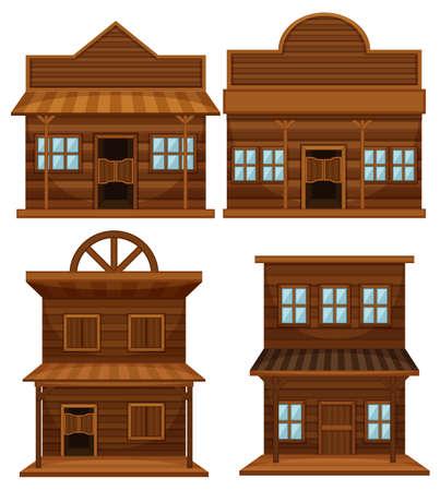 Western style of buildings illustration Illustration