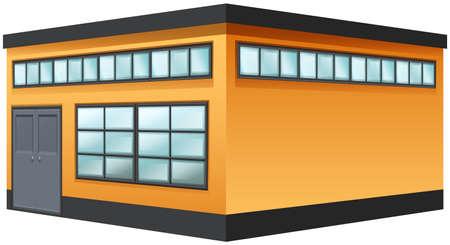 building color: Building painted in yellow color illustration