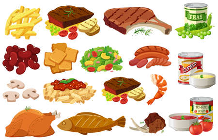 Different kinds of healthy food illustration