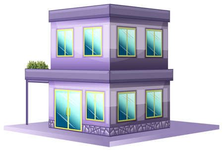 real: 3D design for building painted in purple illustration