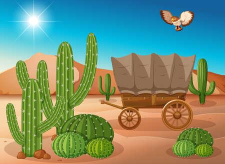 Desert scene with wagon and cactus illustration Illustration