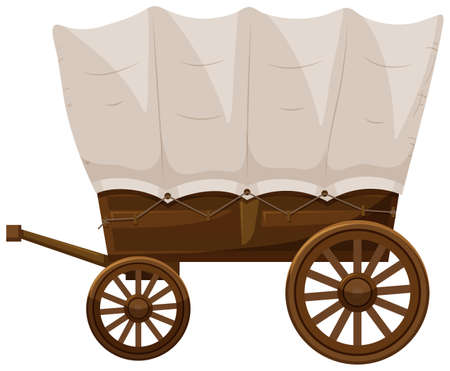 Wagon with wooden wheels illustration