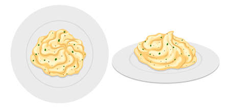 mash: Mash potato on plates illustration Illustration