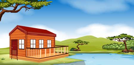 Houten huisje aan de rivier illustratie