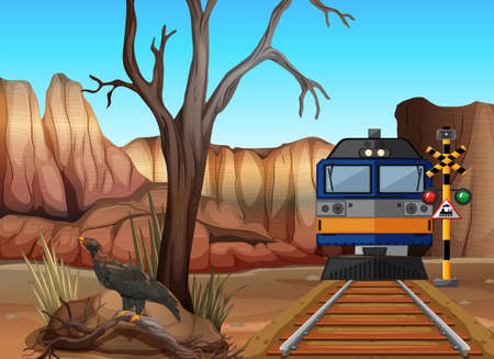 eagle canyon: Train ride through canyons illustration