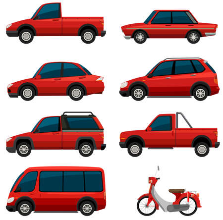 Different types of transports in red color illustration