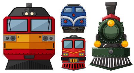 Different head of locomotive illustration