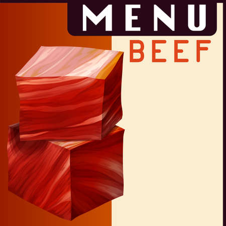 paper product: Menu poster with beef in dices illustration