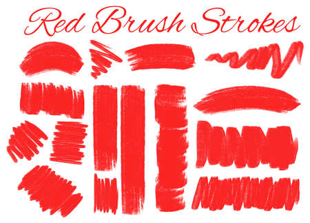 Different strokes in red color illustration