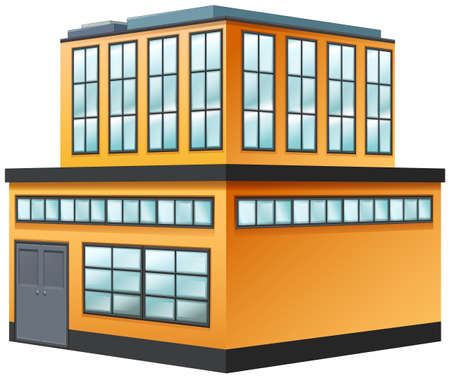 two storey: Two storey building painted in yellow illustration