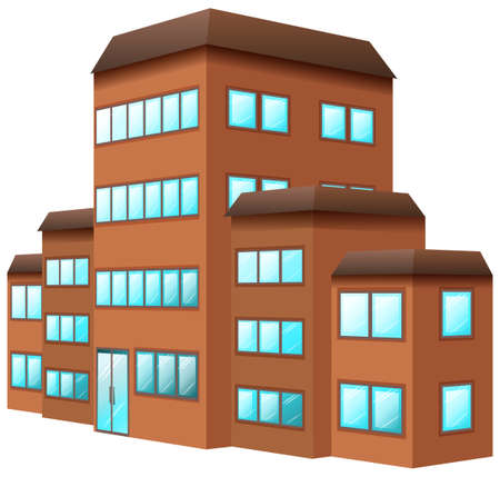 building color: 3D design for building in brown color illustration