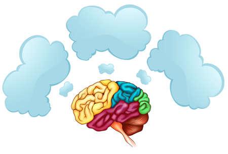 empty: Human brain and three bubbles illustration