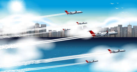 city building: Many airplanes flying in sky illustration