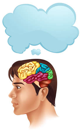 Man with brain diagram and speech bubble illustration