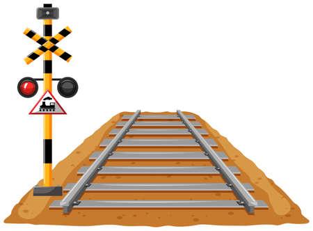 traffic pole: Train track and light signal pole illustration