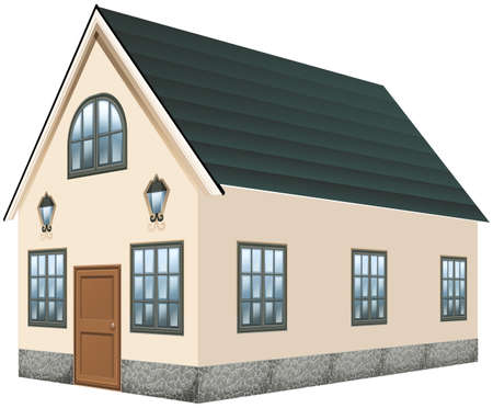 home: 3D design for house with gray roof illustration Illustration