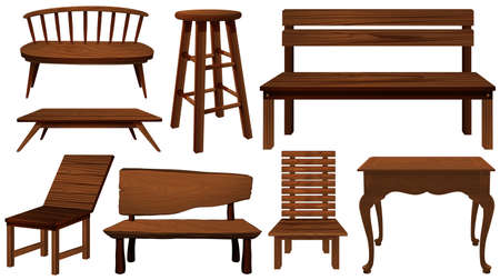 Different designs of chairs made of wood illustration Illustration