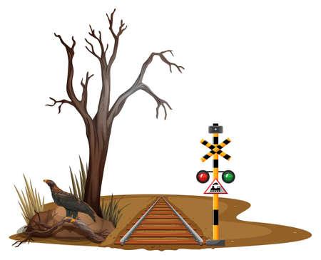 Zugschiene durch die Wüstenillustration
